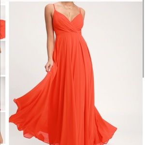 Red Coral Maxi Dress NWT